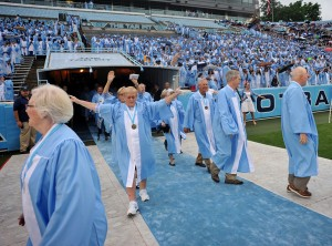 Fiftieth reunion alums process onto the field at spring commencement at the University of North Carolina at Chapel Hill.