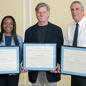 Faculty Mentoring Award winners Michele Tracy Berger, M. Gregory Forest and Mark Fraser